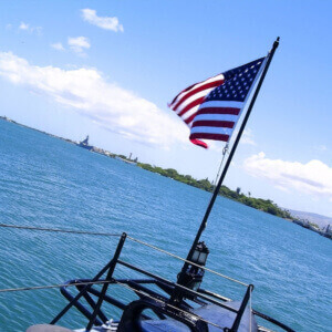 View of the USS Battleship Missouri from the USS Bowfin Submarine